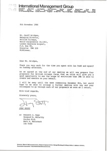 Thumbnail of Letter from Judy Stott to Geoff Bridges