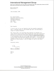Thumbnail of Letter from Mark H. McCormack to Howard Smith