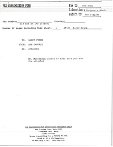 Thumbnail of Fax from Ann Taggart to Barry Frank