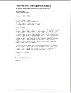 Thumbnail of Letter from Mark H. McCormack to Mildred B. West
