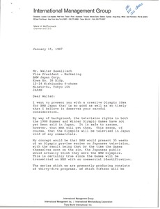 Thumbnail of Letter from Mark H. McCormack to Walter Sawallisch