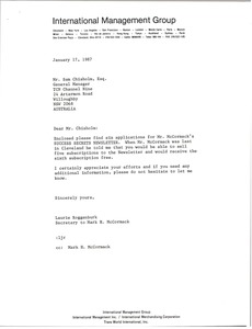 Thumbnail of Letter from Laurie Roggenburk to Sam Chisholm