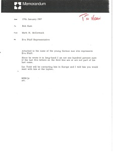 Thumbnail of Memorandum from Mark H. McCormack to Bob Kain