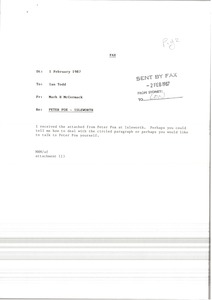 Thumbnail of Fax from Mark H. McCormack to Ian Todd