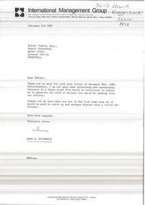 Thumbnail of Letter from Mark H. McCormack to Rafael Tudela