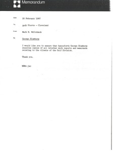 Thumbnail of Memorandum from Mark H. McCormack to Andy Pierce