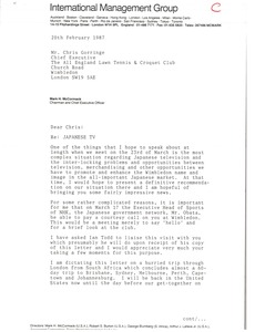 Thumbnail of Letter from Mark H. McCormack to Chris Gorringe