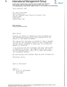 Letter from Mark H. McCormack to Chris Gorringe