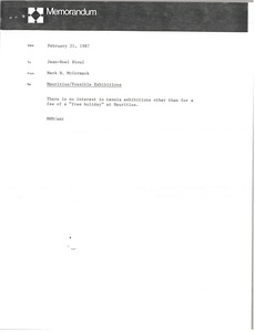Thumbnail of Memorandum from Mark H. McCormack to Jean-Noel Bioul