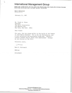 Thumbnail of Letter from Mark H. McCormack to Frank A. Olson