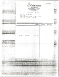 Thumbnail of W. J. Kleinhenz Jewelers invoice