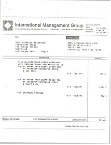 Thumbnail of International Management Group invoice