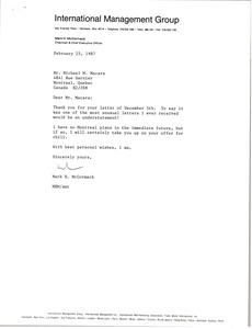Thumbnail of Letter from Mark H. McCormack to Michael M. Macara