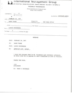 Thumbnail of Fax from Laurie Roggenburk to Barry Frank