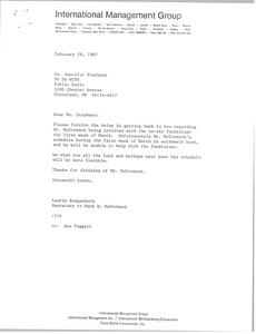 Thumbnail of Letter from Laurie Roggenburk to Jennifer Stephens