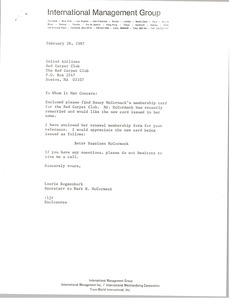 Thumbnail of Letter from Laurie Roggenburk to United Airlines