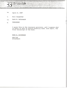 Thumbnail of Memorandum from Mark H. McCormack to Bill Carpenter