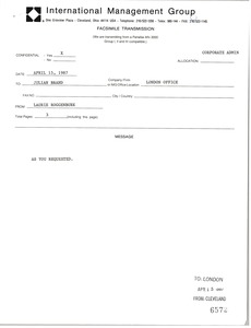 Thumbnail of Fax from Laurie Roggenburk to Julian Brand
