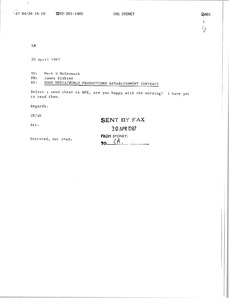 Thumbnail of Fax from James Erskine to Mark H. McCormack
