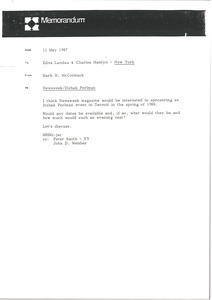 Thumbnail of Memorandum from Mark H. McCormack to Edna Landau