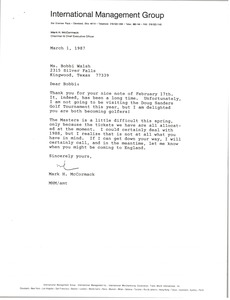 Thumbnail of Letter from Mark H. McCormack to Bobbi Walsh