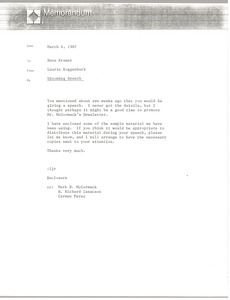Thumbnail of Memorandum from Laurie Roggenburk to Hans Kramer