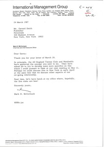 Thumbnail of Letter from Mark H. McCormack to Gerard Smith