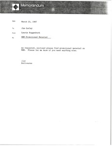 Thumbnail of Memorandum from Laurie Roggenburk to Jim Curley