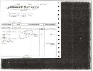 Thumbnail of Success Secrets invoice