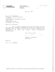 Thumbnail of Letter from James T. Dougherty to Mark H. McCormack