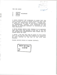 Thumbnail of Fax from Mark H. McCormack to Matsuki