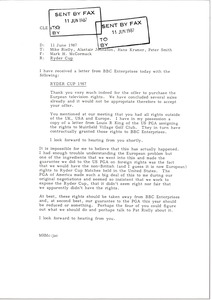 Thumbnail of Fax from Mark H. McCormack to Mike Rielly, Alastair Johnston, Hans Kramer and             Peter Smith