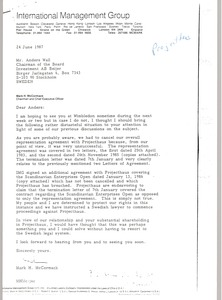 Thumbnail of Letter from Mark H. McCormack to Anders Wall