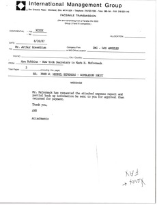 Thumbnail of Fax from Ayn Robbins to Arthur Rosenblum