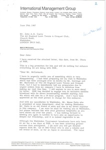Thumbnail of Letter from Mark H. McCormack to John A. H. Curry