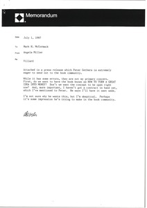 Thumbnail of Memorandum from Angela Miller to Mark H. McCormack
