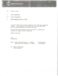 Thumbnail of Memorandum from Laurie Roggenburk to Brian Roggenburk