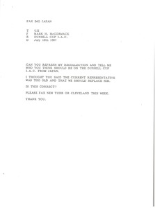 Thumbnail of Fax from Mark H. McCormack to Uji