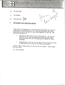 Thumbnail of Memorandum from Doug Billman to Jim Bukata