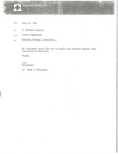 Thumbnail of Memorandum from Laurie Roggenburk to H. Richard Isaacson