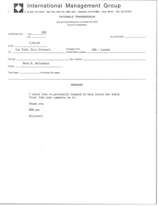 Thumbnail of Fax from Mark H. McCormack to Ian Todd and Eric Drossart