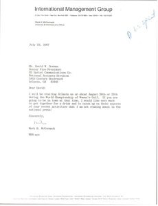 Thumbnail of Letter from Mark H. McCormack to David W. Dorman