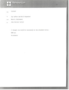 Thumbnail of Memorandum from Mark H. McCormack to Jay Lafave