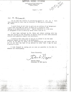 Thumbnail of Letter from Takeshi Nagai to Mark H. McCormack