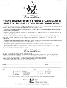 Thumbnail of Tennis sculpture donation form