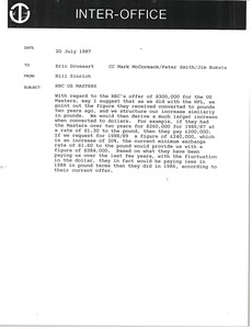 Thumbnail of Memorandum from Bill Sinrich to Eric Drossart