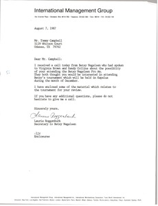 Thumbnail of Letter from Laurie Roggenburk to Tommy Campbell