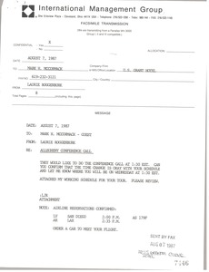 Thumbnail of Fax from Laurie Roggenburk to Mark H. McCormack