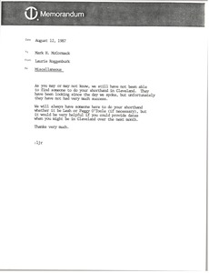 Thumbnail of Memorandum from Laurie Roggenburk to Mark H. McCormack