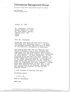 Thumbnail of Letter from Mark H. McCormack to Mr. Ishibashi